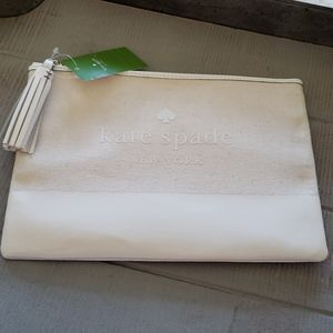 Kate spade Ivory canvas, patent tassel pouch
